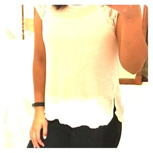 Rue21 White Shirt with Lace Sleeves